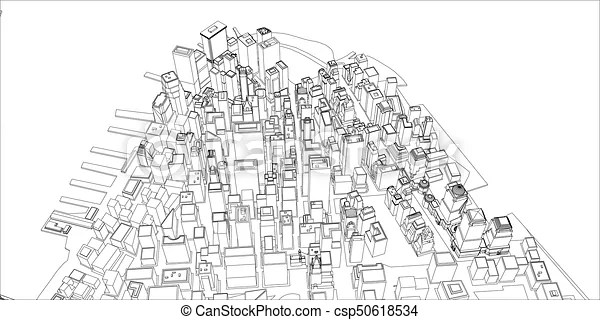Wire-frame new york city, blueprint style. 3d rendering