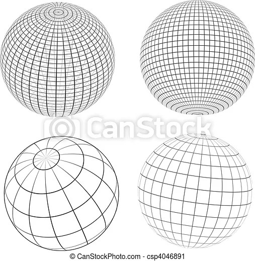 Wireframe globes. Various designs of wireframe globes.