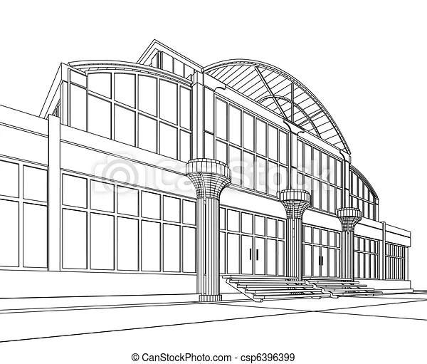 Wireframe of office building. 3d architectural abstract