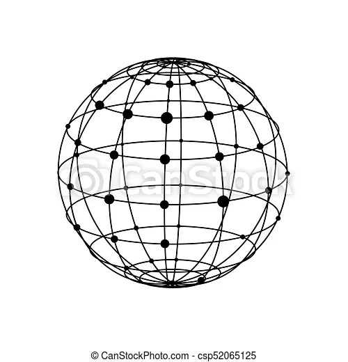 Wireframe sphere with dots. Black wireframe sphere with