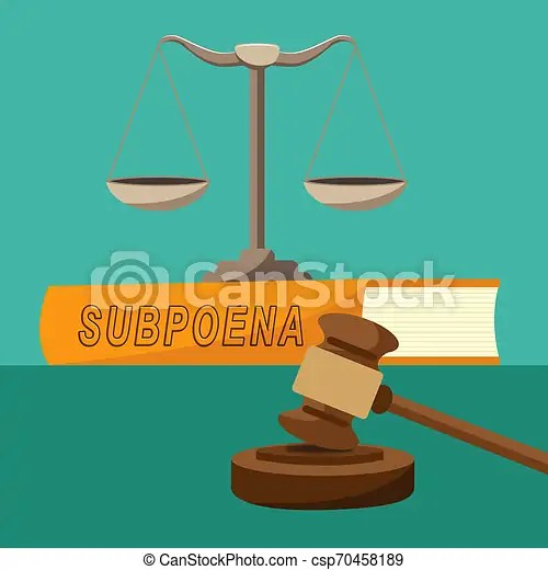 Witness subpoena balance represents legal duces tecum writ of summons 3d illustration. judicial document to summon a person.