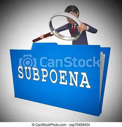 Witness subpoena folder represents legal duces tecum writ of summons 3d illustration. judicial document to summon a person.