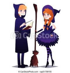 wizard witch boy magic stick broom clipart sorceress hood vector illustration party cute halloween hat magician robe striped drawing stockings