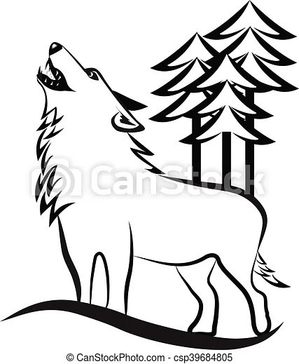 Wolf howling logo. Wolf silhouette vector image.