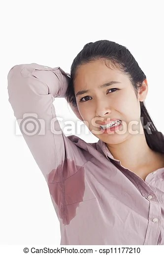 Woman appalled by her sweat patches on white background stock photography - Search Pictures and Photo Clip Art - csp11177210