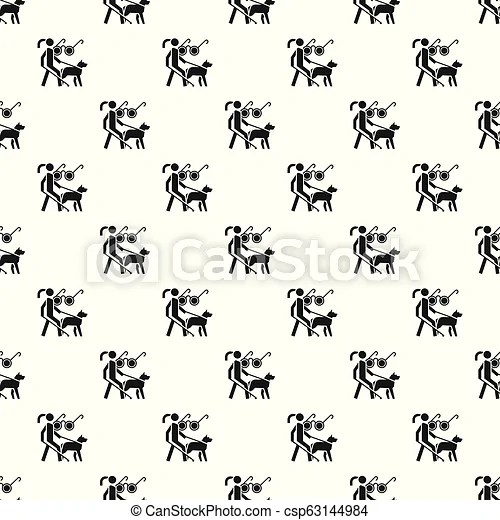 Woman blind dog guide pattern seamless vector repeat for