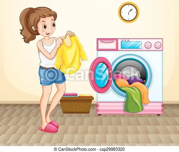 Woman doing laundry at home illustration.