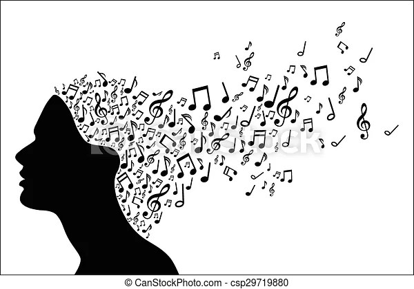 Woman head silhouette with music no. Vector illustration