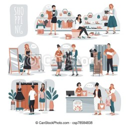 Woman shopping in fashion store people in boutique vector illustration cartoon characters choosing clothes in fashion shop CanStock