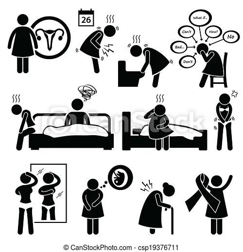 Woman sickness illness diseases. A set of human pictograms