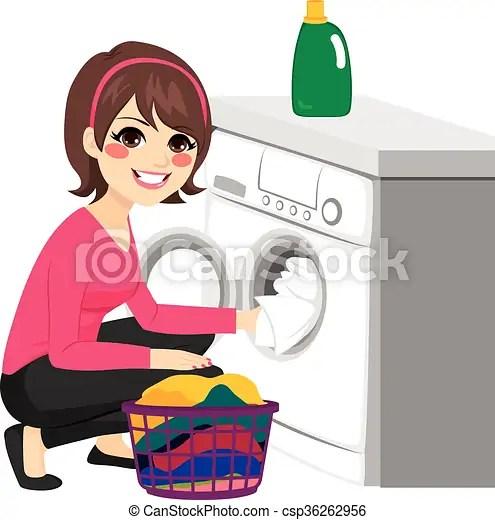 Woman washing machine. Beautiful young woman doing laundry putting dirty clothes on washing machine from basket.