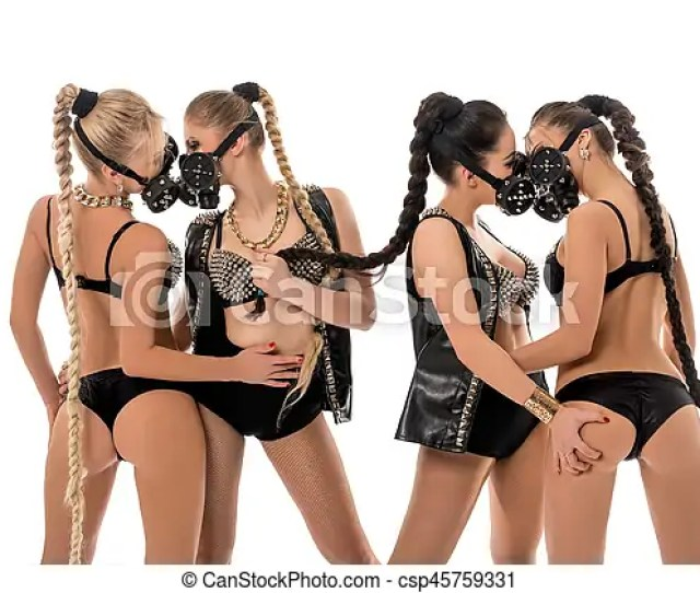 Women In Leather Lingerie And Bdsm Fetish Mask Csp45759331