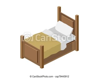 Wood bed with yellow blanket illustration of a cartoon wooden