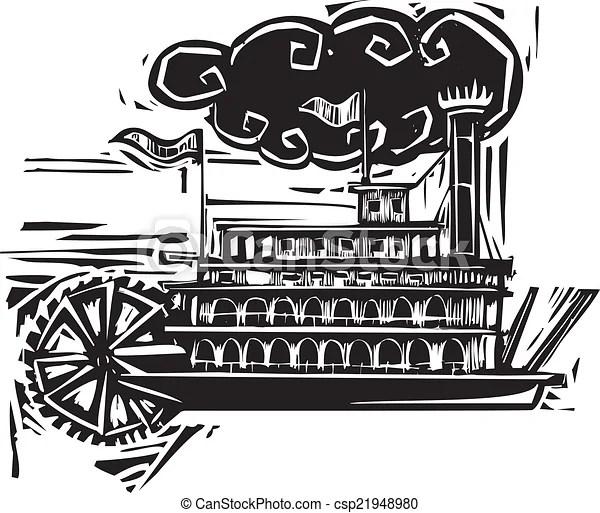Woodcut stern wheel riverboat. Woodcut style side wheel