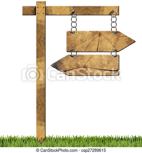 wooden directional sign two