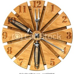 Wooden Kitchen Clock 32 Inch Undermount Sink Cutting Board Lunch Time Concept Csp10743546