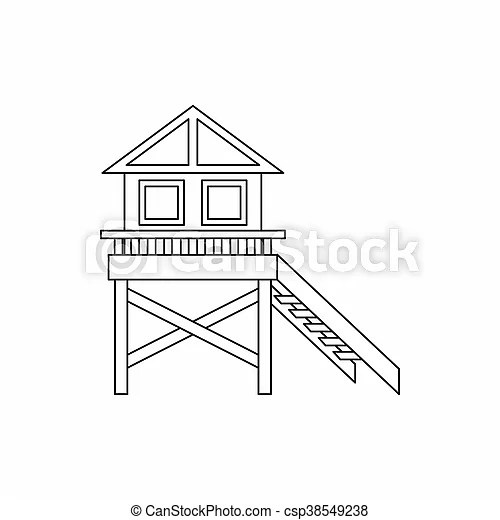 Wooden stilt house icon, outline style. Wooden stilt house