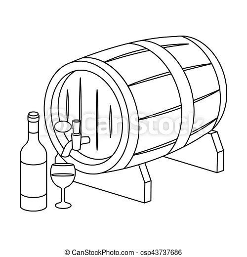 Wooden wine barrel icon in outline style isolated on white