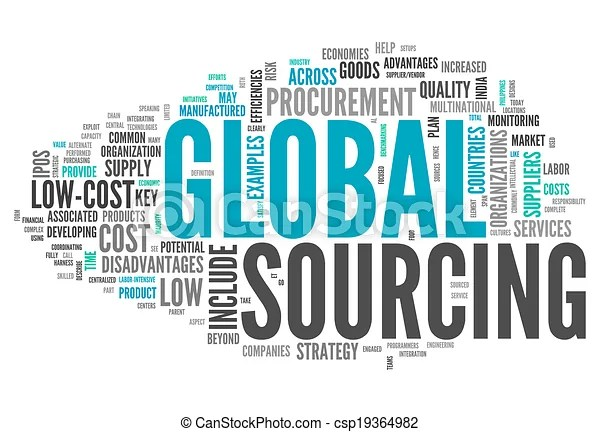 Word cloud global sourcing. Word cloud with global sourcing related tags.
