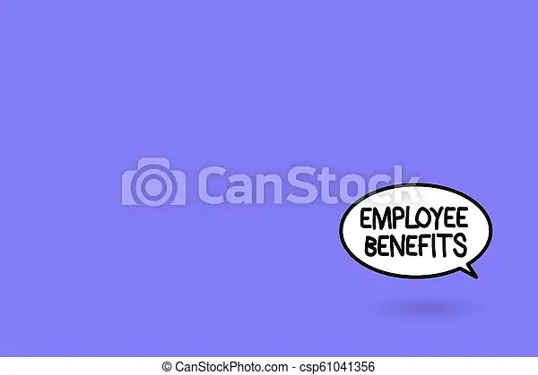 Word writing text employee benefits. business concept for indirect and noncash compensation paid to an employee.