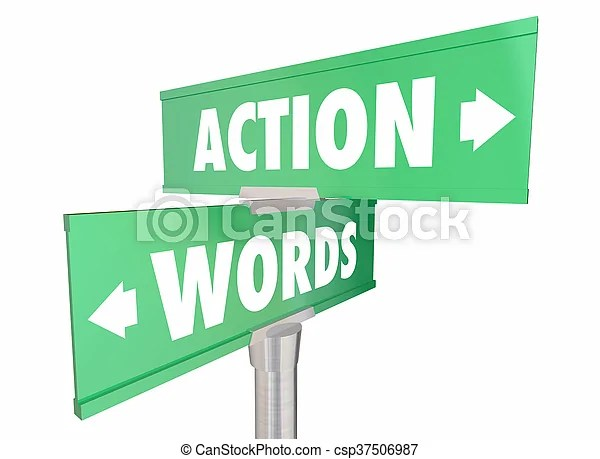 Words vs action proactive achieve goal two signs 3d illustration.