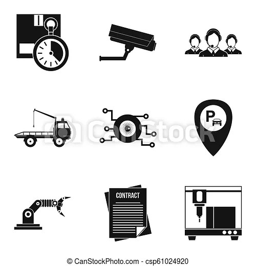 Work hours icons set, simple style. Work hours icons set