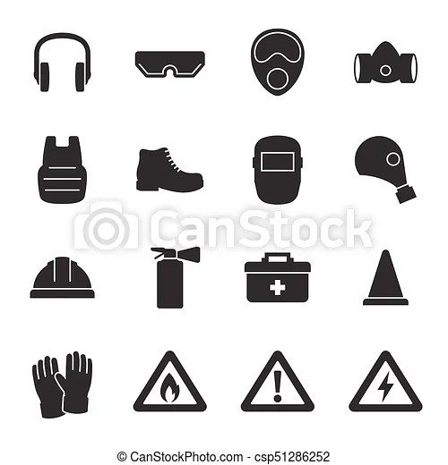 Work safety, protection equipment icons set. black on a