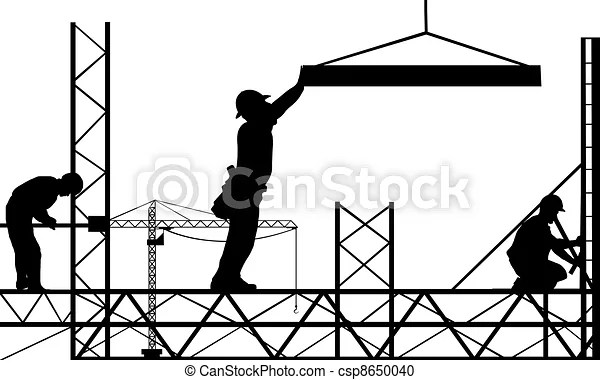 Work site. Illustration of working people silhouettes.