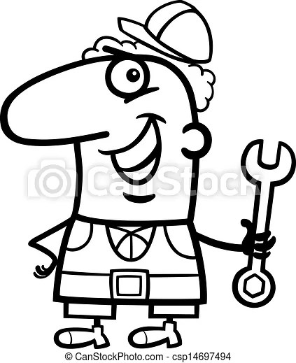 Worker cartoon coloring page. Black and white cartoon