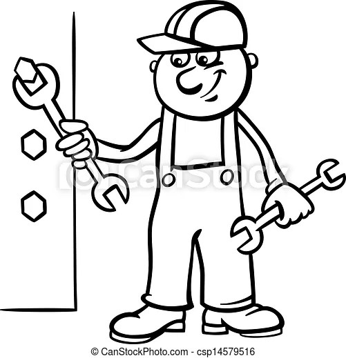 Worker with wrench coloring page. Black and white cartoon