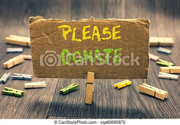 Writing note showing please donate. business photo showcasing supply furnish hand out contribute grant aid to charity clothespin holding ...