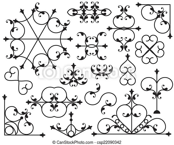 Wrought iron corner, border design elements vector art.