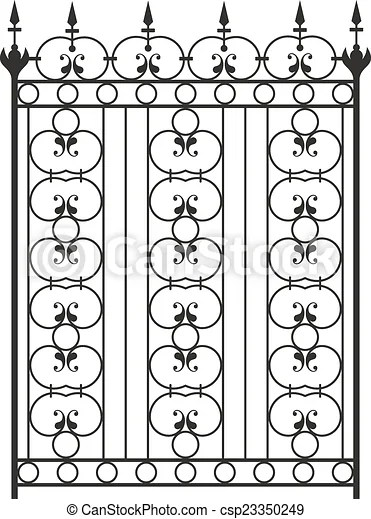 Wrought iron gate, door, fence, window, grill, railing