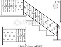 Wrought iron stair railing design vector art.