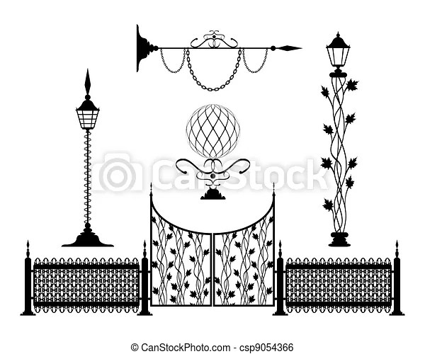 Wrought iron vintage signs and decor elements.
