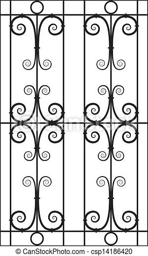 Wrought iron window design silhouette cutout. Seamless