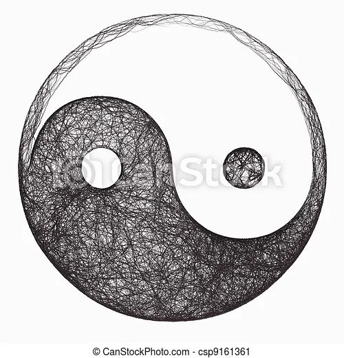 Computer generated black and white yin yang symbol clipart