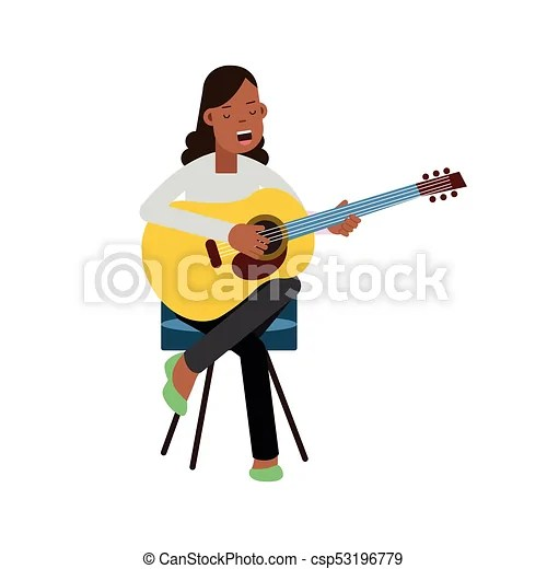 guitar playing chair aluminum restaurant chairs and tables young girl sitting on the acoustic singing pop music singer happy