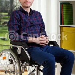 Wheelchair Man Chair Covers West Yorkshire Young On Portrait Of At Home Csp21862178