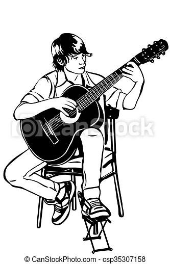 Man Playing Guitar Clipart