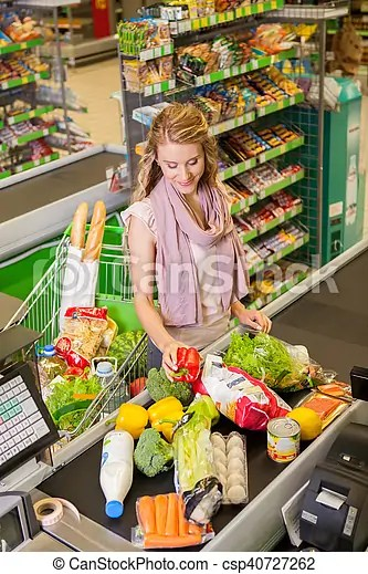 young woman buying food