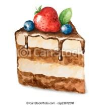 Aquarell, vektor, torte. Vektor, sein, torte, gebraucht ...