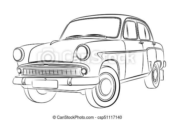 Auto, sketch. Auto., skizze, altes.