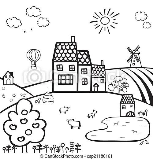 Bauernhof, weißes, schwarz, landschaftsbild. Bauernhof