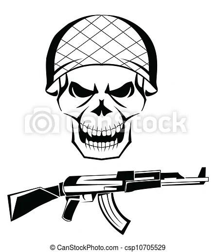 Vektor Illustration von Armee, totenschädel, waffe