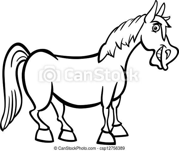 Vektor von Bauernhof, Pferd, karikatur, färbung, Buch