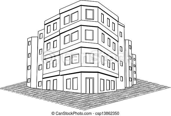 Clipart Vektor von echte, gut, Buero, modern, mietshaus