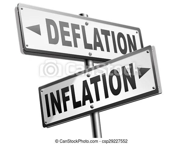 Deflation, inflation. Deflation, bestand, oder, zeichen, rezession, finanziell, krise, aufgehen, wirtschaftlich, absturz,
