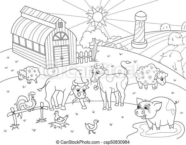 Färbung, tiere, erwachsene, bauernhof, vektor, ländlicher