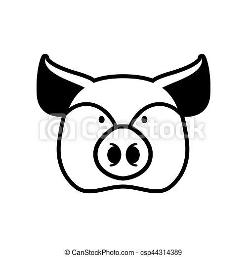 Kopf, bauernhof, zeichen., symbol., schwein, schnauze